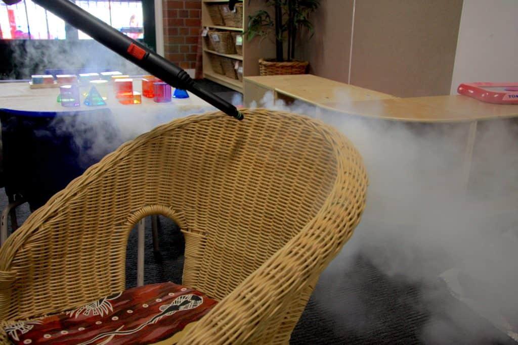 Steam sanitise wicker indoor furniture